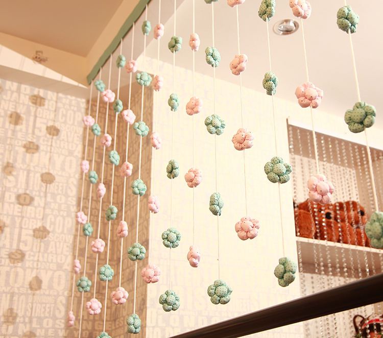 Handmade flowers custom decoration soft half curtain off the feng shui line curtain accessories Home / wedding decoration