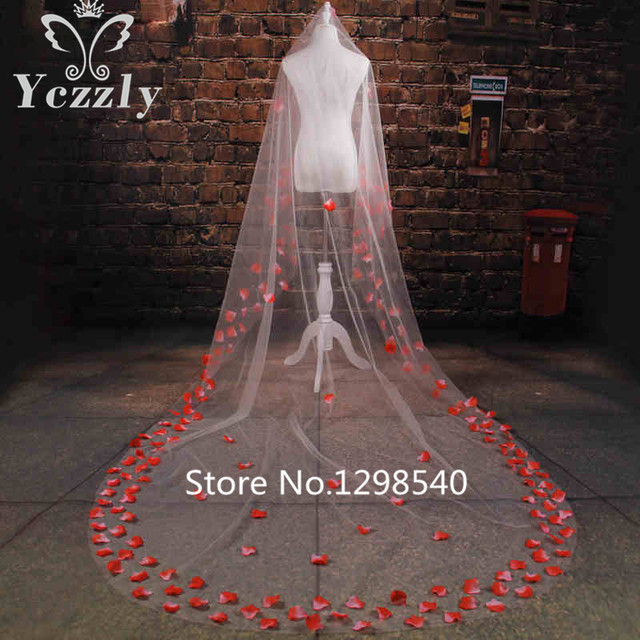 Real Samples One Layer Long Cathedral Veils White/Ivory 3M Rose Petals Bridal Veils For Bride Veu De Noiva Longo WB66