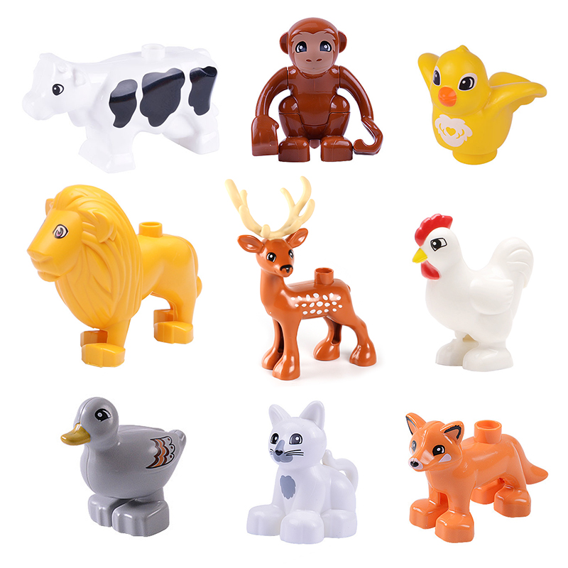 Big Particles Model Building Blocks Accessory Toys For Children Compatible With Duplo Animal Deer Cow Dog Lion Fox Bird Bricks