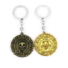Classic Movie Pirates Of The Caribbean Keychain Vintage Skull Head Gold Skeleton Key Chain Jewelry