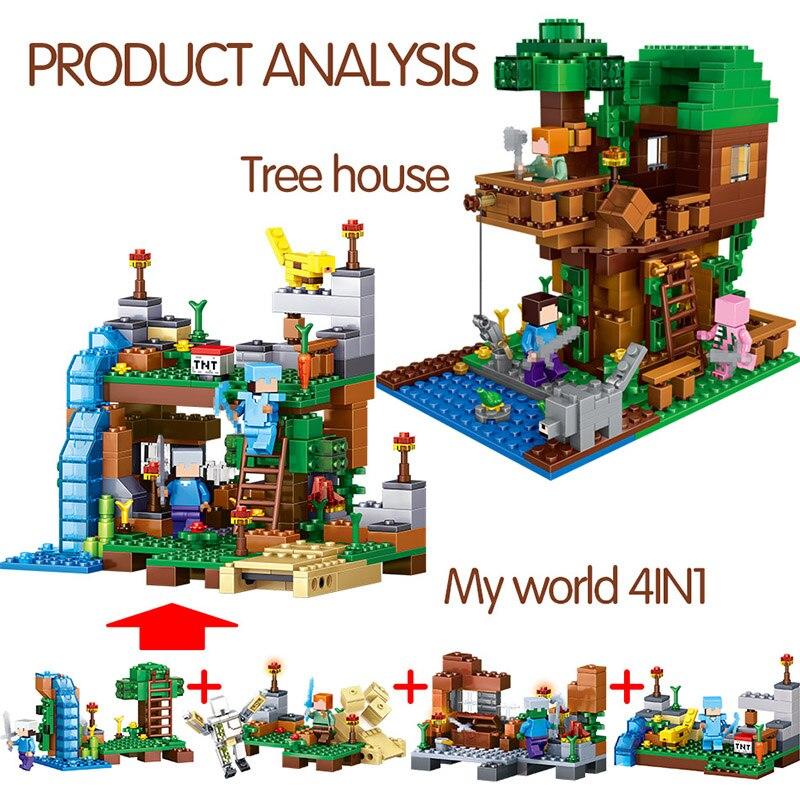 1208 pièces Mon Monde blocs de construction LegoING Minecrafted Village Cheval de Bataille Ville cabane Cascade jouets éducatifs Pour Enfants - 5