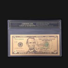 Горячая продажа для американских банкнот 5 долларов банкнот В позолоченном металле чистое золото с оправой COA для сбора