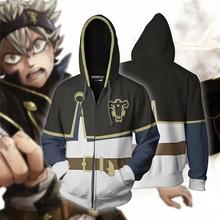 Men Women 3D Hoodies for Anime Black Clover Asta Cosplay Hoodie Coat Casual Zipper Sweatshirts Jacket
