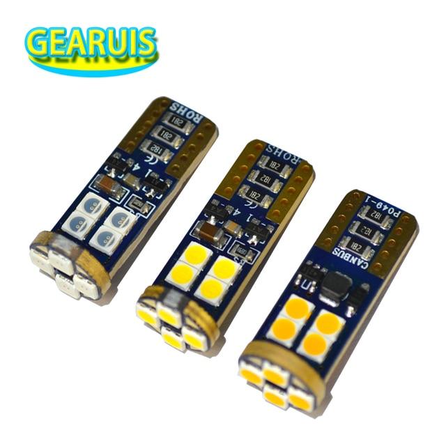10 pièces W5W LED canbus T10 12 smd 3030 pas d'erreur lampe de voiture tourner plaque d'immatriculation latérale lumière coffre lampe feux de dégagement blanc rouge ambre