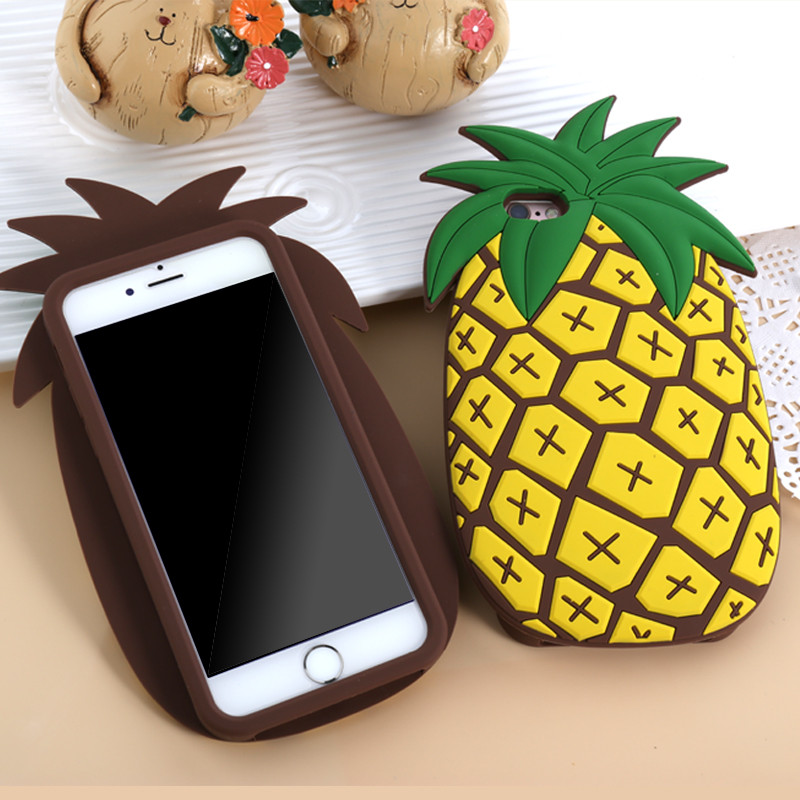 3D Pineapple Phone Back Cover Cases For Iphone XS Max XR X 5 5S SE 6 6S 7 8 Plus Soft Silicon Cool Case Gift