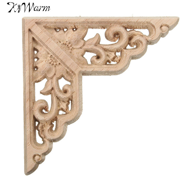 Kiwarm Wood Carved Corner Onlay Applique Unpainted For Home Room Furniture  Cabinet Decorative Figurines Wooden Miniature