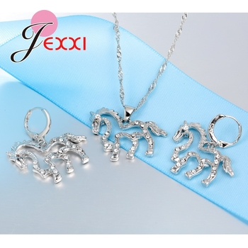 Cute Horse CZ Crystal Pendant 925 Sterling Silver Jewelry Sets for Women Girls Wedding Party Accessory Necklace Earrings