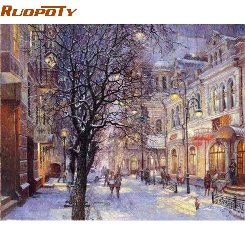 RUOPOTY Rahmen Weihnachten Landschaft DIY Malen Nach Zahlen ...