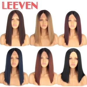 Image 1 - Leeven 14 cal syntetyczna koronka przodu peruka peruka z krótkim bobem pelucas de mujer klasyczne proste jedwabne włosy czarny blond peruka kobieta peruki