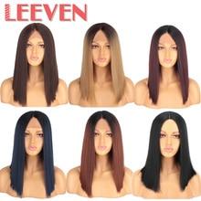 Leeven 14 インチ合成レースフロントかつらショートボブのかつら pelucas デ mujer 古典絹のようなストレートヘア黒ブロンドかつら女性かつら