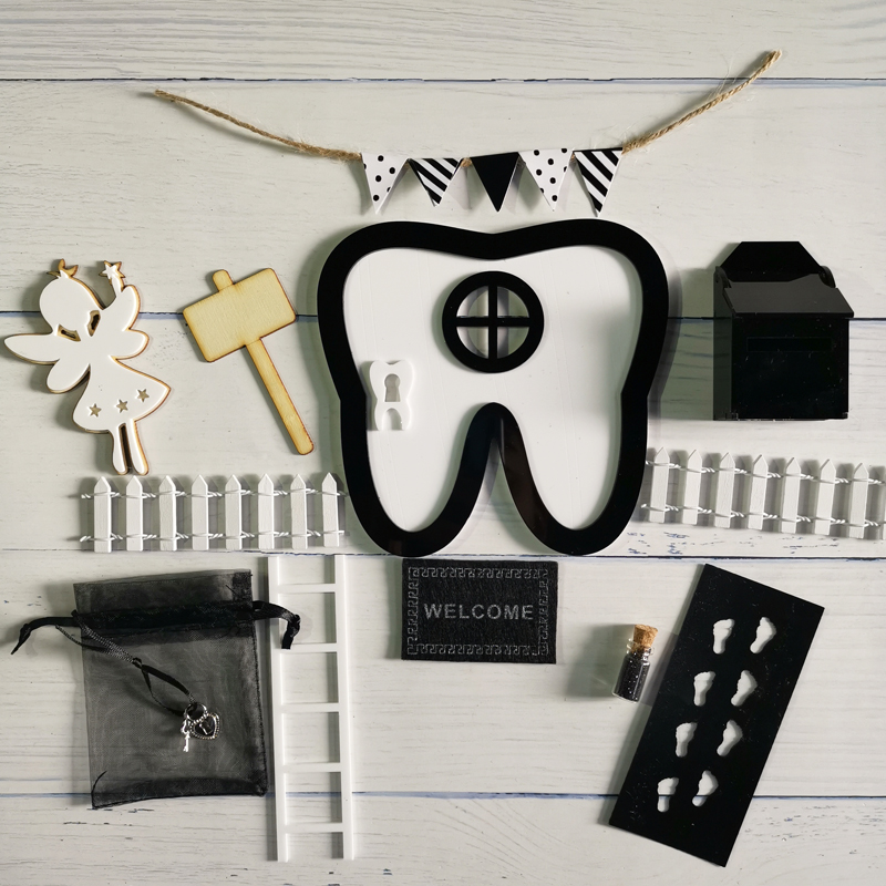 Hand Made Pink Arch Fairy Door Acrylic Gift For Boys Miniature Magic Fairies Tooth Fairy Door Set Black Teeth Shape Printer