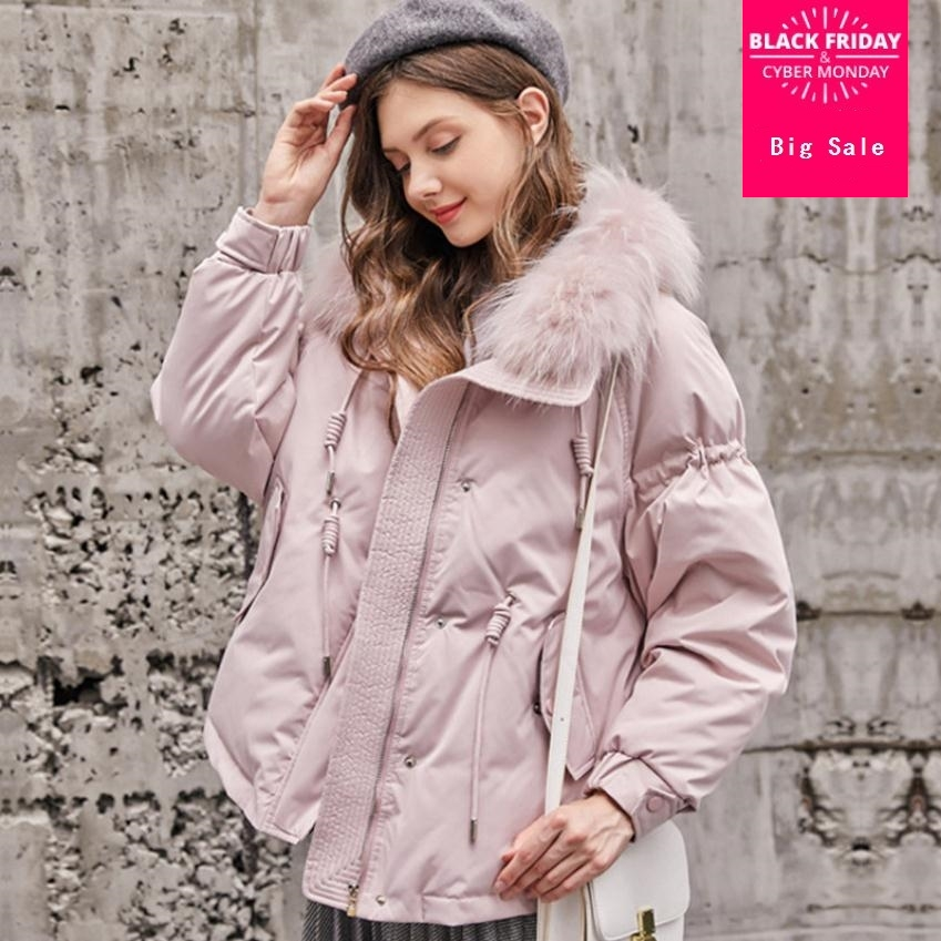 Winter 90% natural fur duck   down   with natural fur collar   down     coat   female plus size loose style warm   down     coat   wq340 dropship