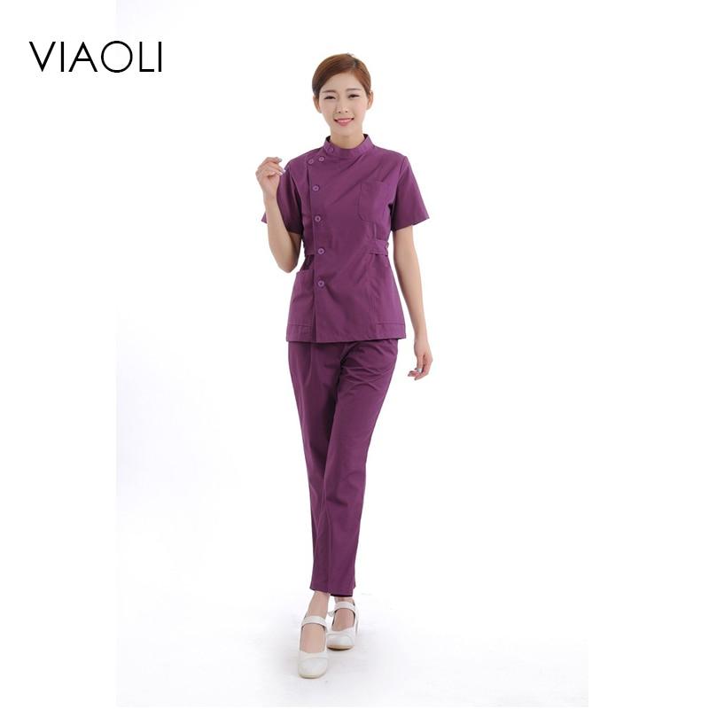 Viaoli 2017 Doctor nurse spring and summer short-sleeved collar collar waist dress nurse dressscrub set uniform
