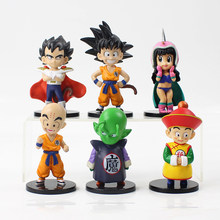 6 pçs/lote 10 cm Dragon Ball Z Goku ChiChi Vegeta Gohan Piccolo Dragonball Kuririn Kid Ação PVC Figura Modelo toy Collectible(China)
