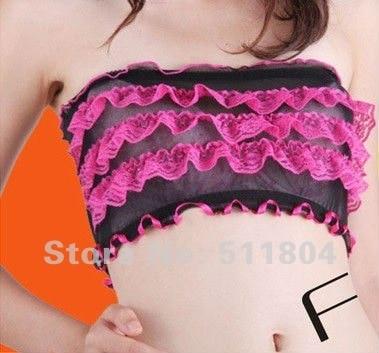 2015 New Fashion Gauze Lace Ruffles Women's Chest Wrap, Girl Sexy Lingeries Intimates Underwear Wholesale 6pcs/Lot 8 colors