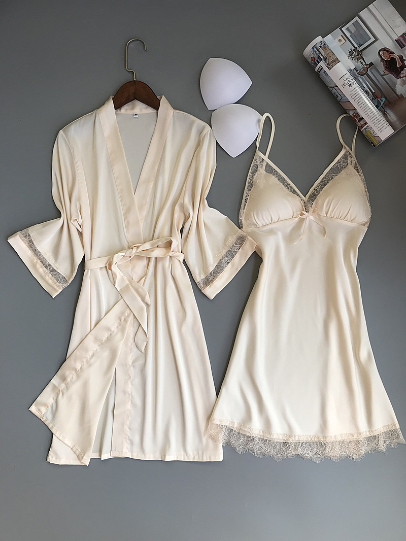 Queenral 2PCS Women Gown Sets Silk Satin Robe Nightgown Set Sleepwear Home Suit Night Sleep Plus Size M-XL Intimate Lingerie    134