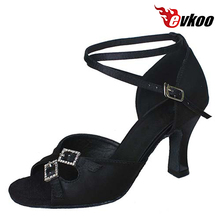 Free Shipping Satin With Crystal Buckle Latin Salsa Dance Shoes For Women 7 cm Heel Evkoo-266