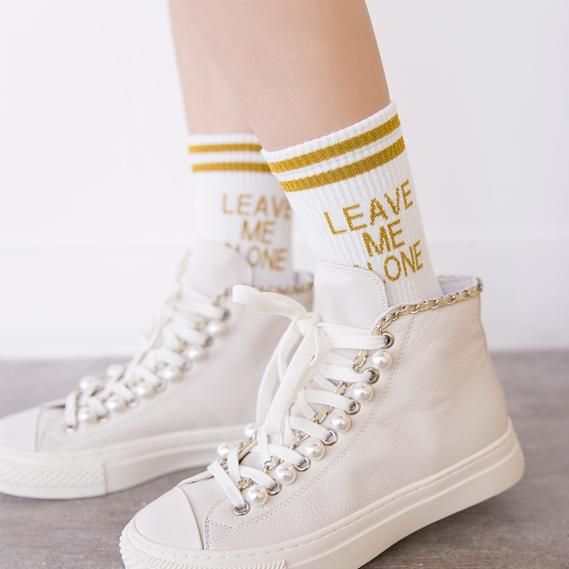 5 pairs/lot Fashion Women Letter Crew Socks Harajuku Cool Bling Glitter Letters Striped Skateboard Cotton Sock