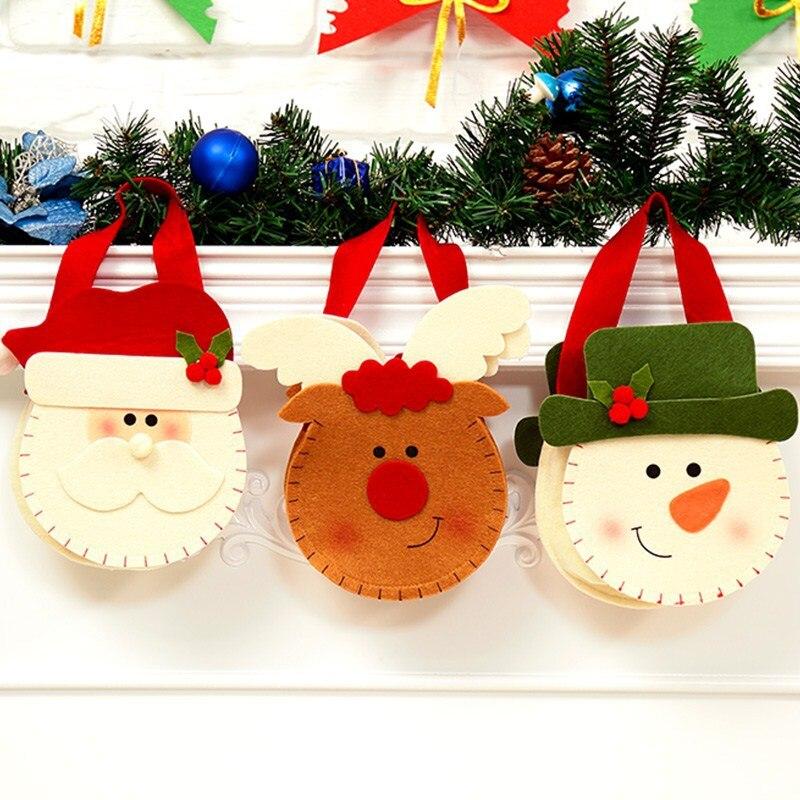 Stereoscopic Christmas Candy Bag Santa Claus Snowman Elk Hand Bags XMAS Decor Holiday Gift Bags New Year