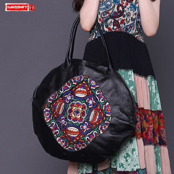 HANSOMFY Genuine Leather Women handbags 2018 new original embroidered first layer leather female shoulder portable Round bags
