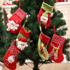 Cute Santa Claus Snowman Elk Christmas Socks Christmas Stockings Xmas Tree Decoration Christmas Sock New Year Party Ornament E