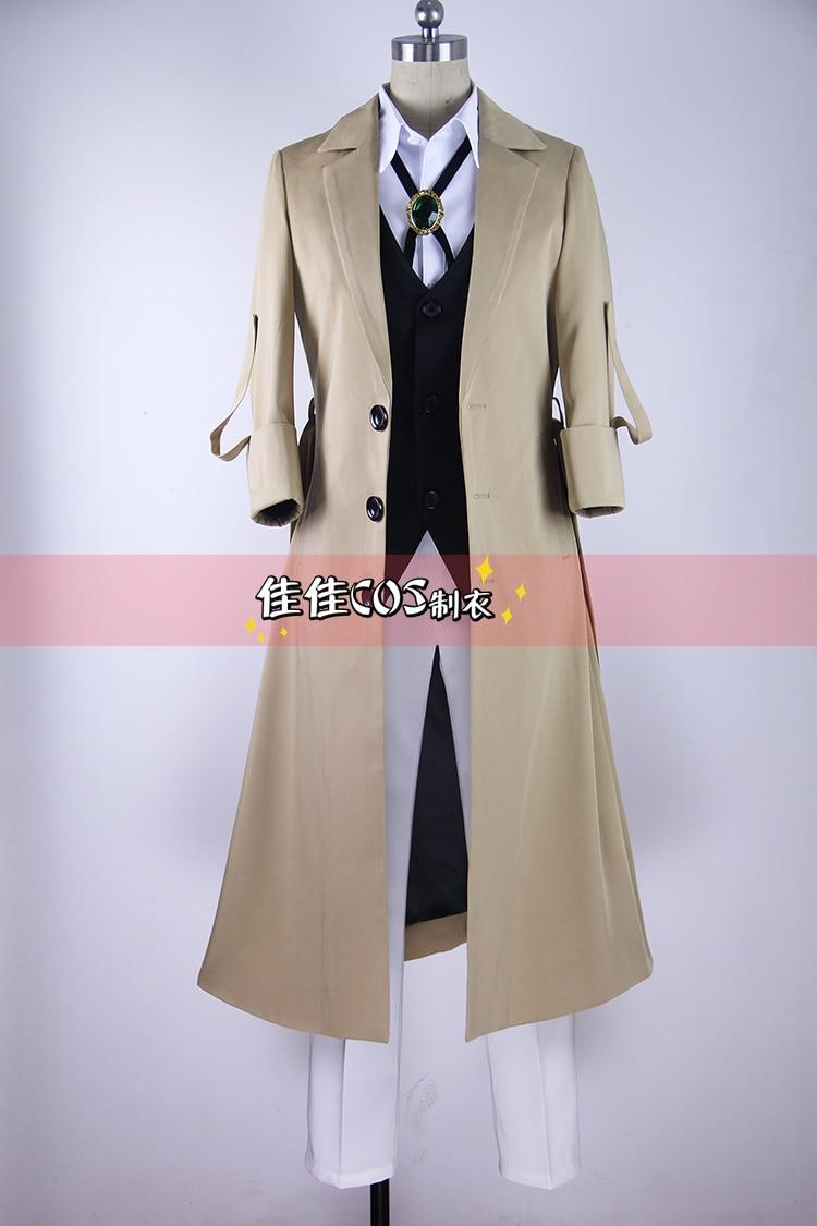 Anime Bungo Stray Dogs Dazai Osamu Cosplay Costume Full Set Coat Shirt Vest Tie Pants Belt