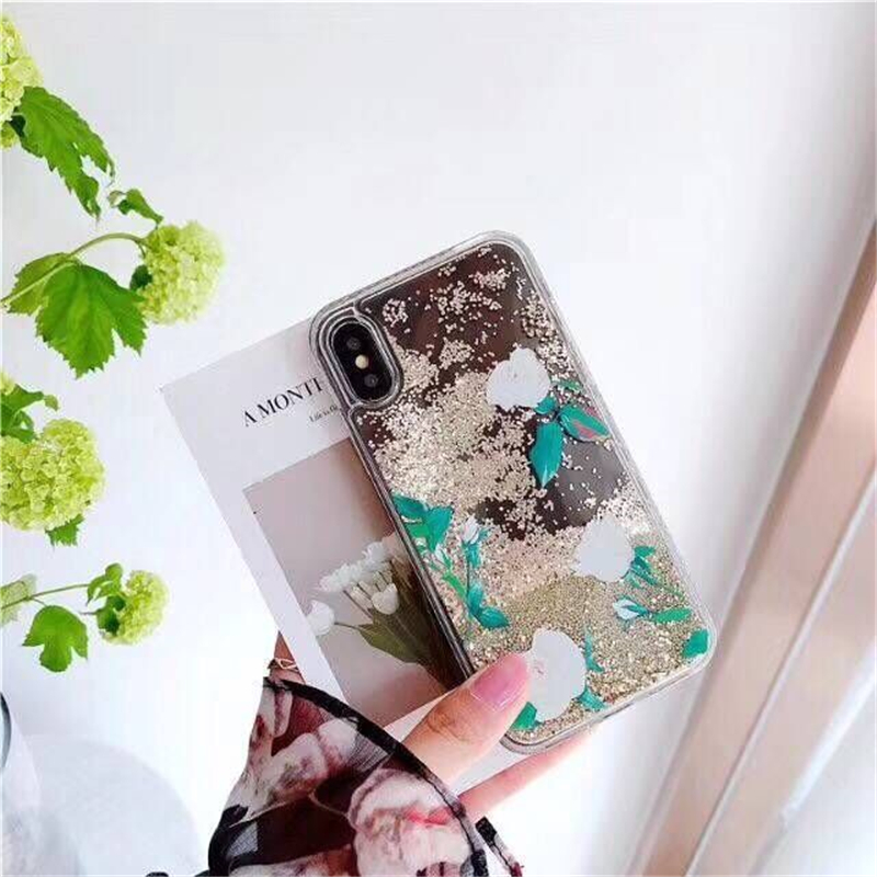 New Fashion Flower Soft TPU Mobile Phone Case For iPhone8 8PLus Glitter Transparent Liqu ...