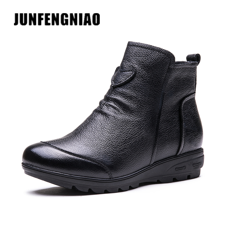 JUNFENGNIAO Women Female Snow Boots Mother Shoes Flats Casual Plush Winter Fur Warm Zipper Love Genuine Spell Leather GZXM-613 muhuisen winter men genuine leather shoes fashion casual plush warm boots lace up flats male snow boots fur inside comfort