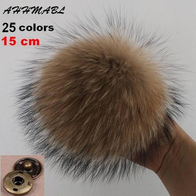 15 centímetros DIY Genuine Real Raccoon Fur Fur Pompom Pom Poms para As Mulheres Crianças Beanie Chapéus Caps Big Tamanho Natural bola Para Sapatos Sacos de Tampas