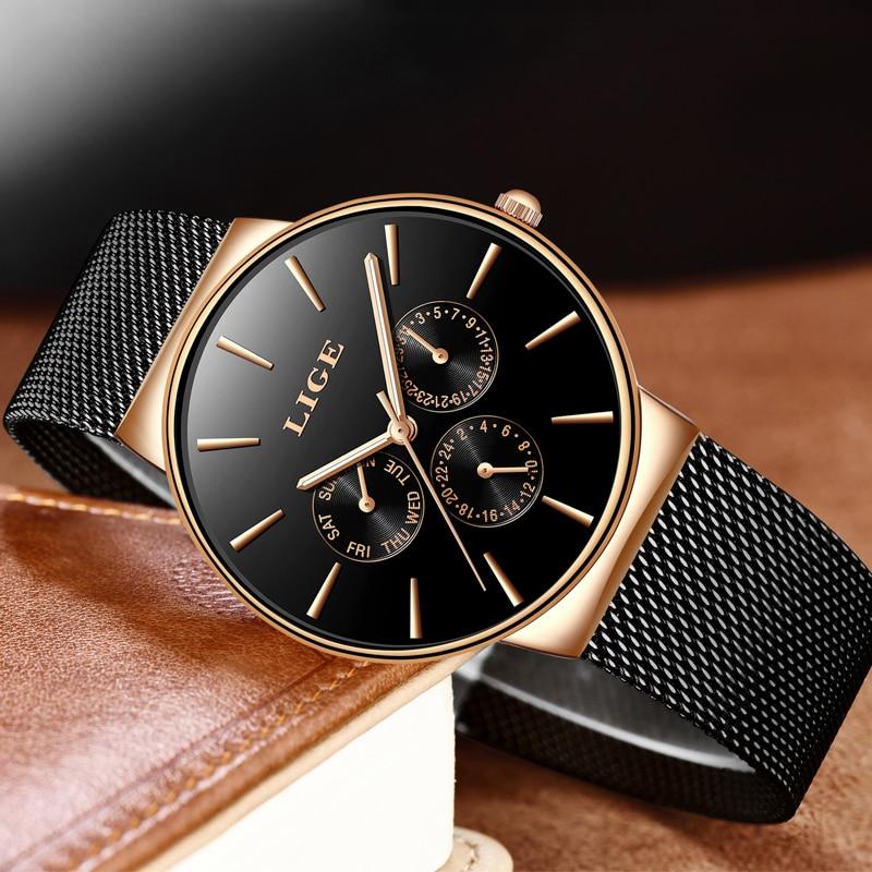 LIGE Fashion Mens Watches Male Top Brand Luxury Waterproof Sport Watch Mens Ultra-Thin Mesh Steel Quartz Clock Relogio Masculino