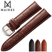 MAIKES 2017 All New Design Black Genuine Leather Watch Strap 16 18 20 22 mm Good Quality Black Men Watchbands For Casio