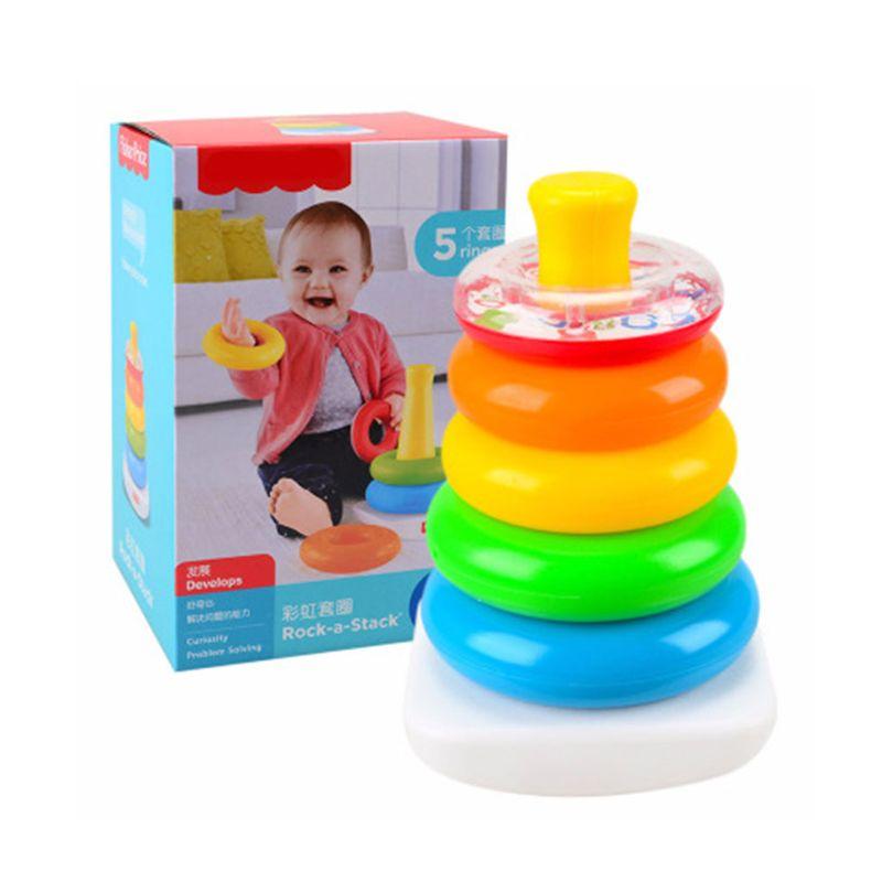 Multi Colors Ring Pyramid Baby Puzzle Toys Set Brain Teaser Educational Intelligence Development Exercising Tool