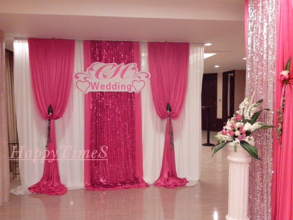 Beatiful Wedding Decoration Backdrop 3m High 6m Wide Curtain With Detachable Swag And Matched Stainless Steel Set
