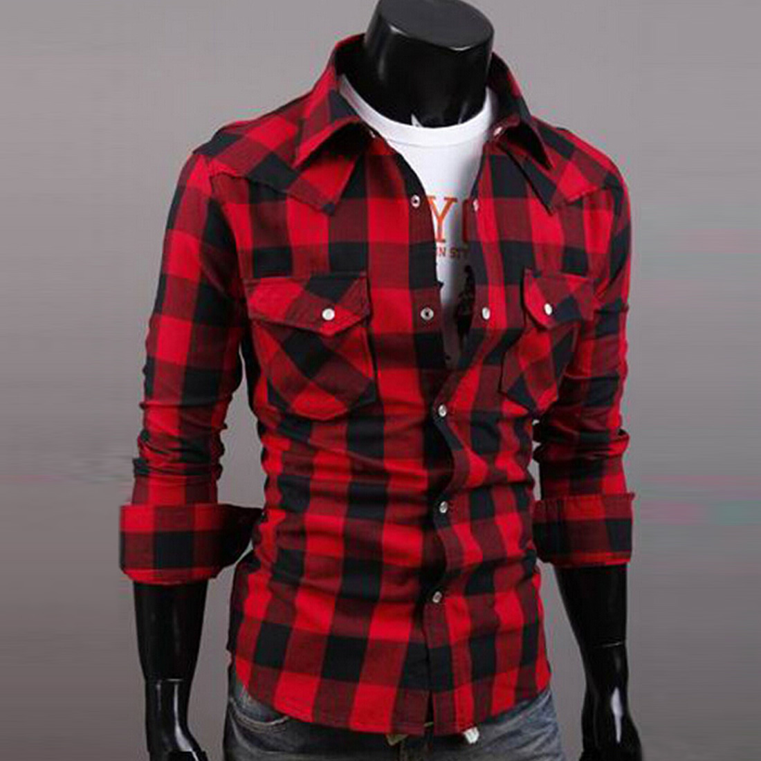 a328804b7fb7 New fashion Mens Slim Fit Casual & Dress Plaid Check Shirt Korean ...