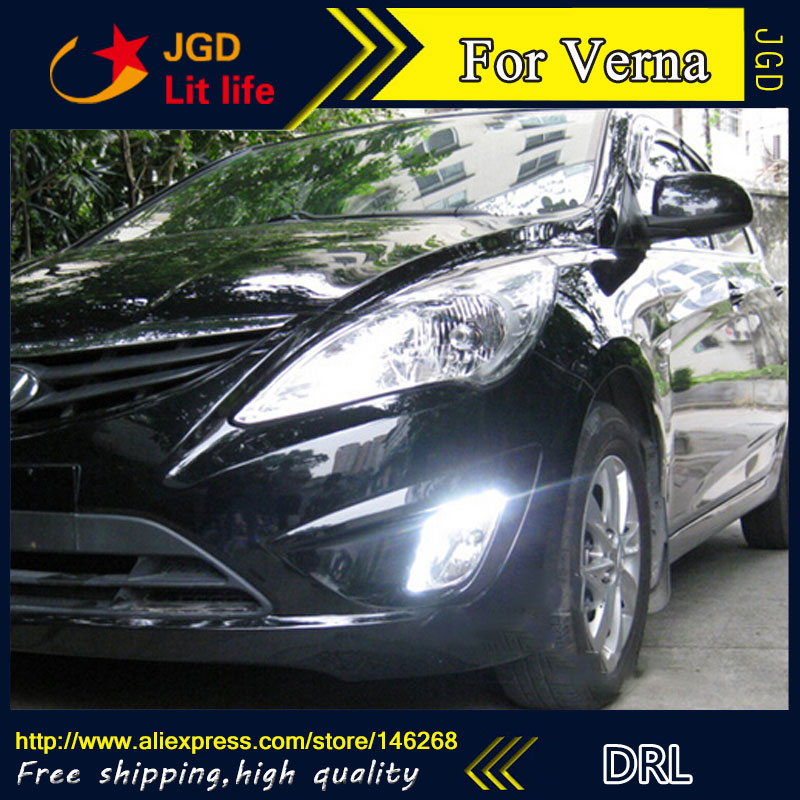 Free shipping ! 12V 6000k LED DRL Daytime running light for Hyundai Verna 2010-2013 fog lamp frame Fog light Car styling