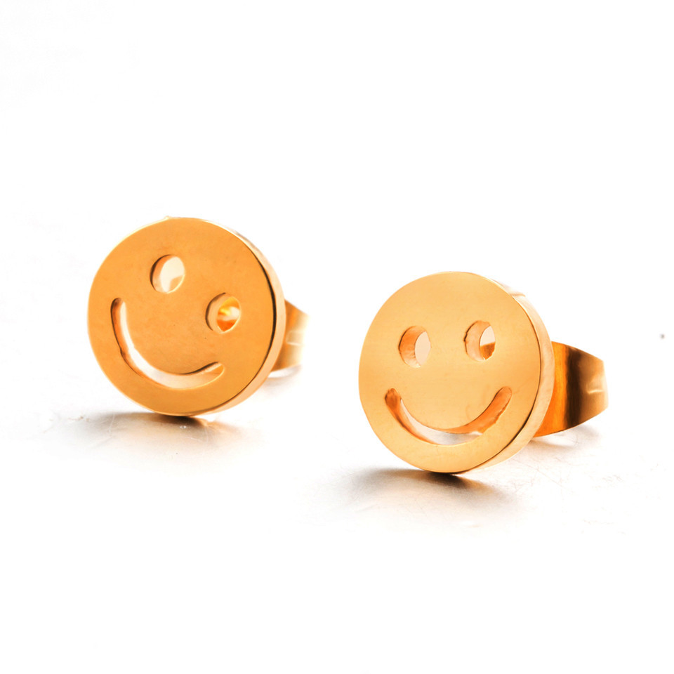 Cute smile stud earrings female women girls Lovely face happy every day golden color sta ...