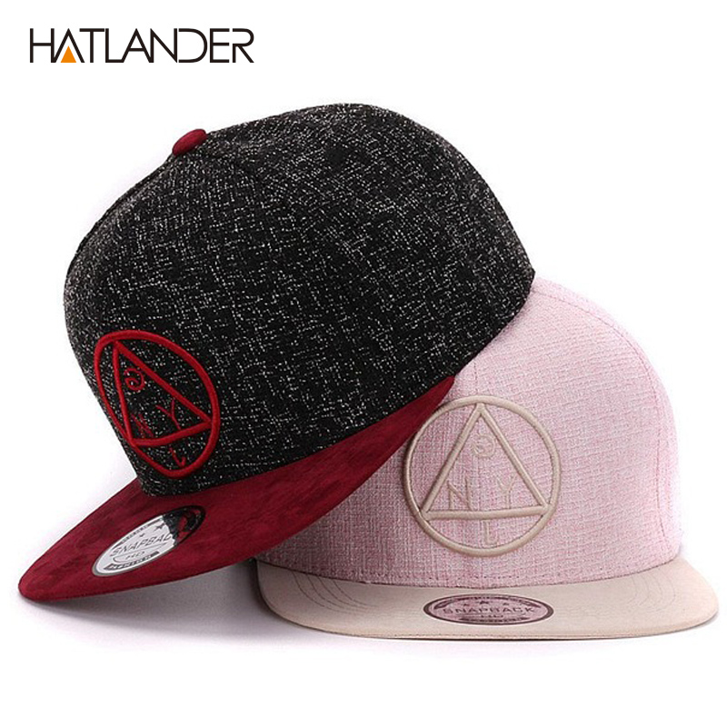 Quality Snapback cap NY round triangle embroidery brand flat brim baseball cap youth hip hop cap and hat for boys and girls image