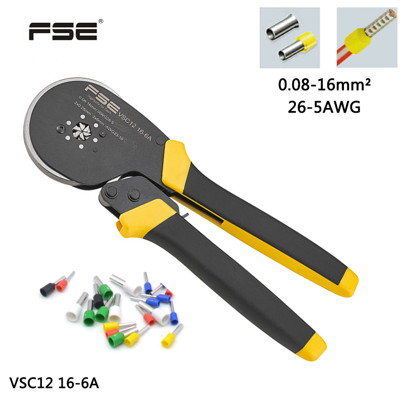 VSC12 16-6A 0.08-16mm^2 26-5AWG  Adjustable Precise Crimp Pliers Tube Bootlace Terminal Crimping Hand Tool HSC12 16-6AVSC12 16-6A 0.08-16mm^2 26-5AWG  Adjustable Precise Crimp Pliers Tube Bootlace Terminal Crimping Hand Tool HSC12 16-6A