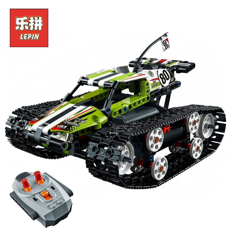 Lepin 20033 Technic RC Track Racer Building Blocks Tank Electric Motor Power Function Model Brick Legoing 42065 military Toys
