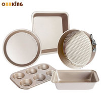 OBRKING Carbon Steel Cake Pizza Pan Nonstick Coating Bread Loaf Mold Cupcake Biscuit Pan Oven Household Baking Tools Gold Color