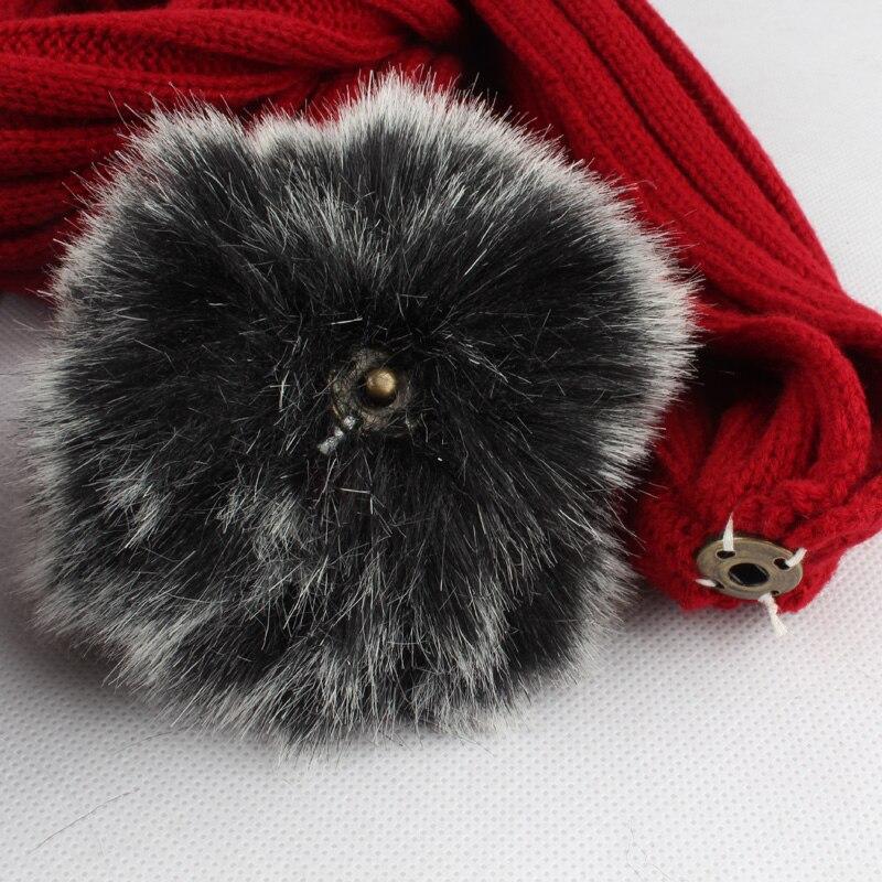 2017 zimske tople žene faux krzneni šal šal set dva krzna pompom - Pribor za odjeću - Foto 6
