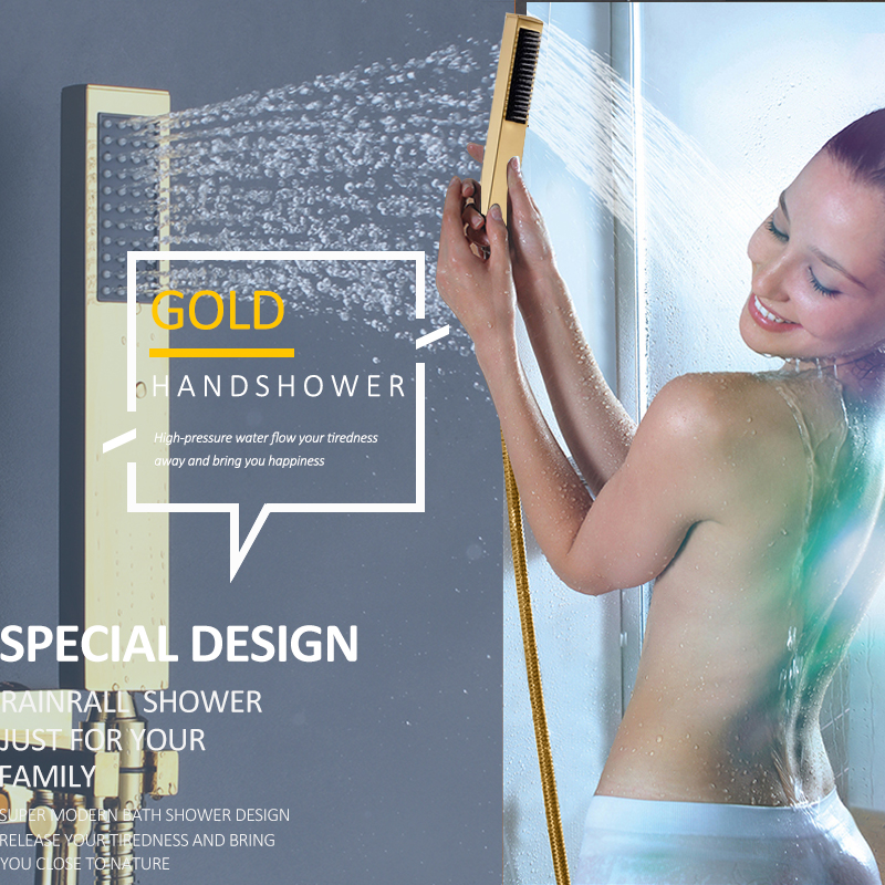 Quyanre Gold Digital Shower Faucets Set LED Rain Waterfall Shower Head 3-way Digital Display Mixer Tap Concealed Bathroom Shower