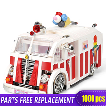 XINGBAO 08004 1000pcs Ice Cream Car small Block Volkswagen T1 Camper Van Building Blocks Gift toys blocks Compatible With LOGO lightailing led light kit for t1 camper van building blocks toys light set compatible with 10220 and 21001 for kids gift