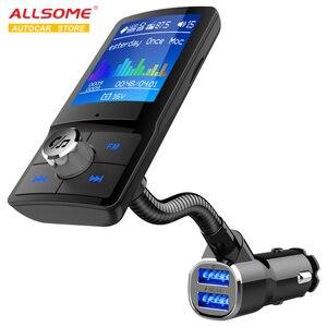 ALLSOME Bluetooth fm-передатчик QC3.0 автомобильное USB зарядное устройство Автомобильный MP3-плеер с 1,8