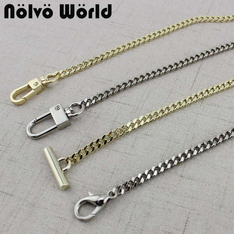 1 Piece,60-140cm Light Gold Silver 5mm Wide Tiny Chain In 4 Kinds Buckle For Repair Ladies Bags Purse Chain Strap