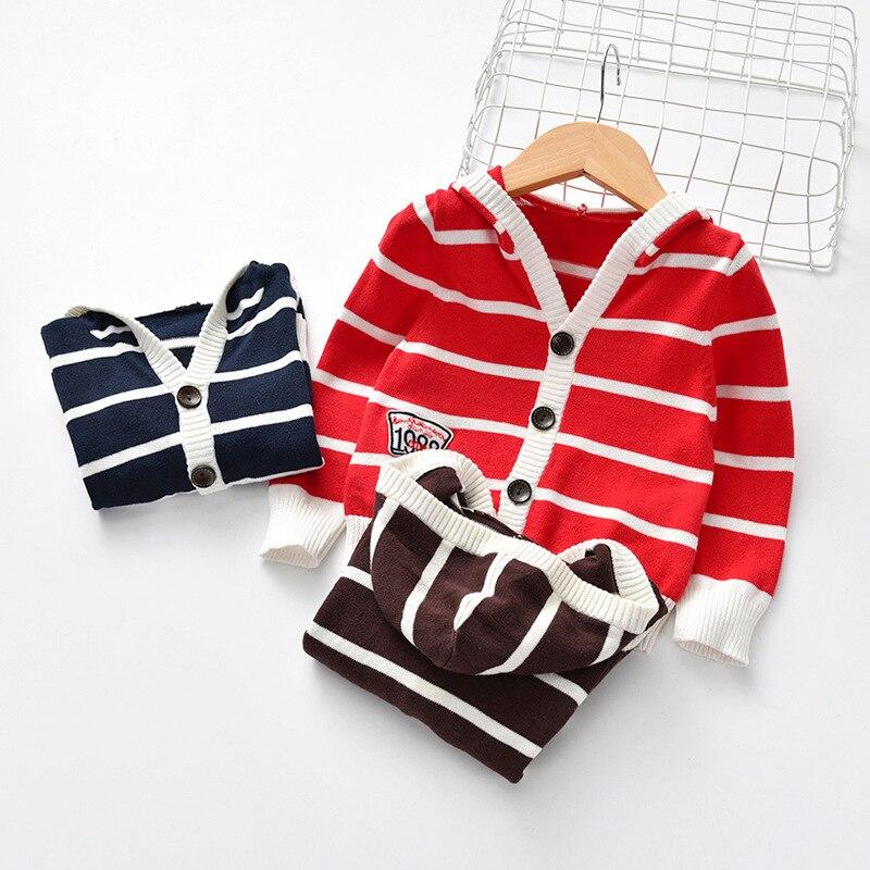 Neue Kinder Unisex Streifen Pullover Kleidung 2019 Herbst Jungen Und Mädchen Streifen Mit Kapuze Pullover Strickjacke Kinder Streifen Oberbekleidung Jungen Kleidung