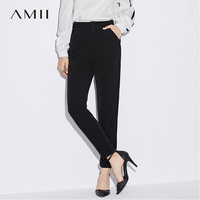 Amii Women Minimalist Pants 2019 Plus Size Office Lady High Waist Button Fly Female Trousers