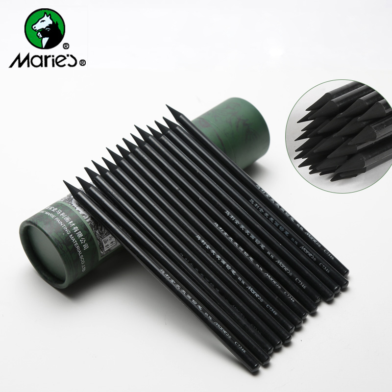 24pcs Marie's Charcoal Pencil For Drawing Soft Painting Sketch Pencils Set Student Supplies Stationery For Artist Painting touchnew 60 colors artist dual head sketch markers for manga marker school drawing marker pen design supplies 5type