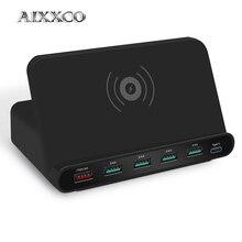 AIXXCO 2 in 1 stazione di carica Rapida caricatore 3.0 usb con caricatore senza fili per il iPhone 7 8 Del Telefono Mobile Veloce caricatore di ricarica 5W QI