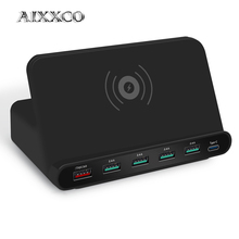 Aixxco 2 で 1 急速充電 3.0 usb 充電器ワイヤレス充電ステーション用 7 8 携帯電話の高速充電器充電 5 ワットチー